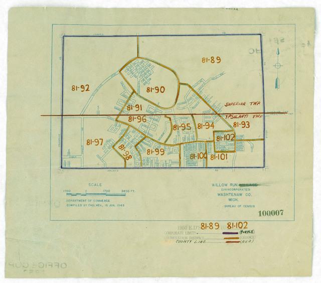 1950 Census Enumeration District Maps - Michigan (MI) - Washtenaw County - Willow Run - ED 81-89 to 102