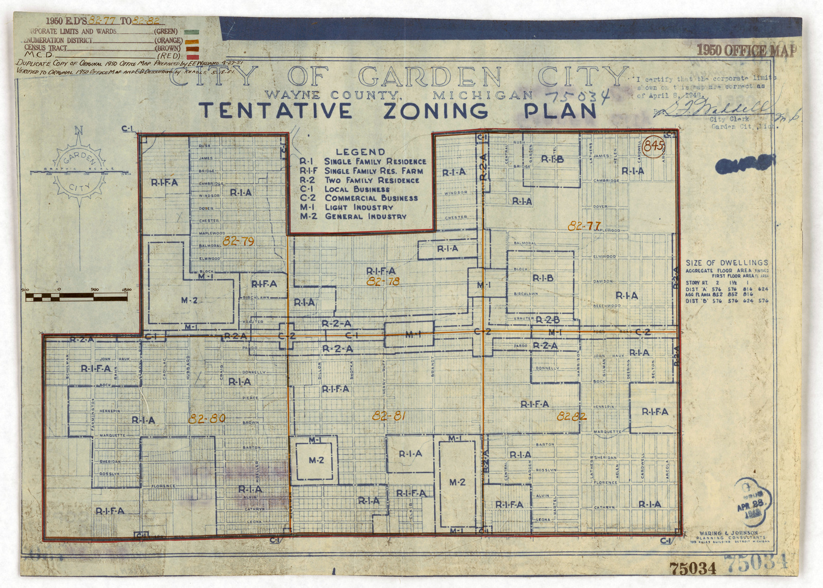 1950 Census Enumeration District Maps Michigan Mi Wayne County