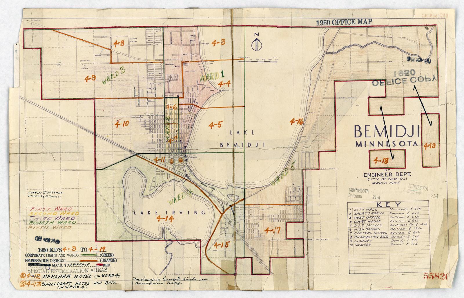 Bemidji Minnesota Map.1950 Census Enumeration District Maps Minnesota Mn Beltrami