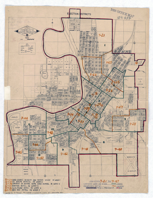 1950 Census Enumeration District Maps - Minnesota (MN) - Blue Earth County - Mankato - ED 7-21 to 47