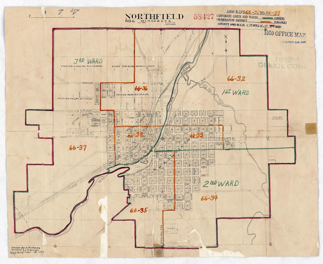 1950 Census Enumeration District Maps - Minnesota (MN) - Rice County - Northfield - ED 66-32 to 38