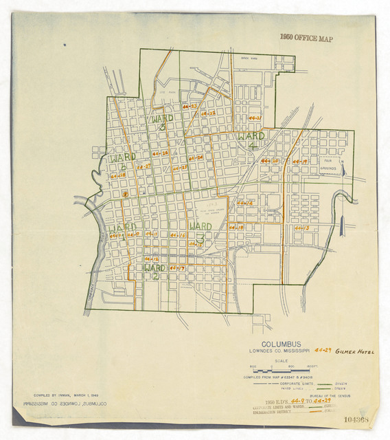 1950 Census Enumeration District Maps - Mississippi (MS) - Lowndes County - Columbus - ED 44-9 to 29
