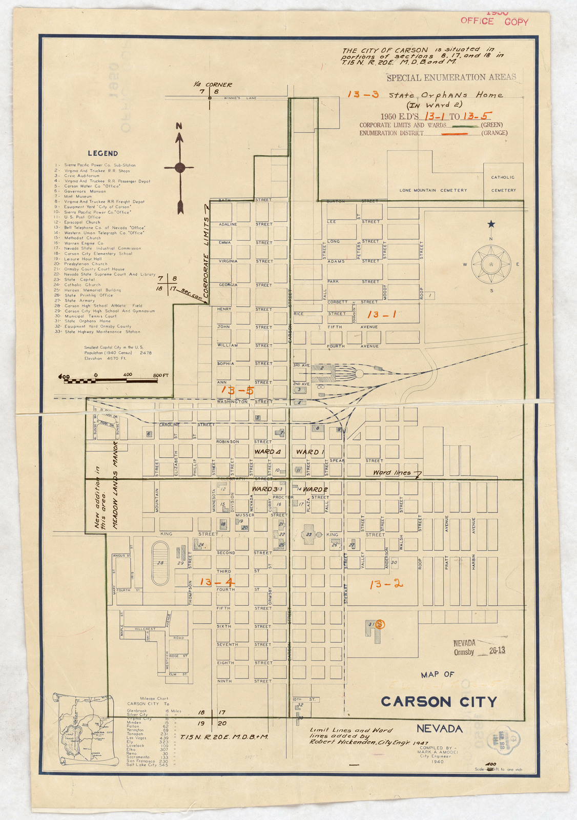 1950 Census Enumeration District Maps - Nevada (NV) - Ormsby County ...