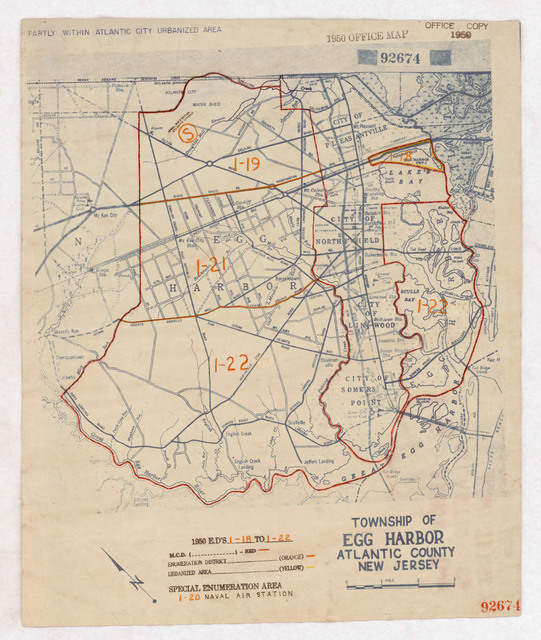 1950 Census Enumeration District Maps - New Jersey (NJ) - Atlantic County - Egg Harbor Township - ED 1-18 to 22