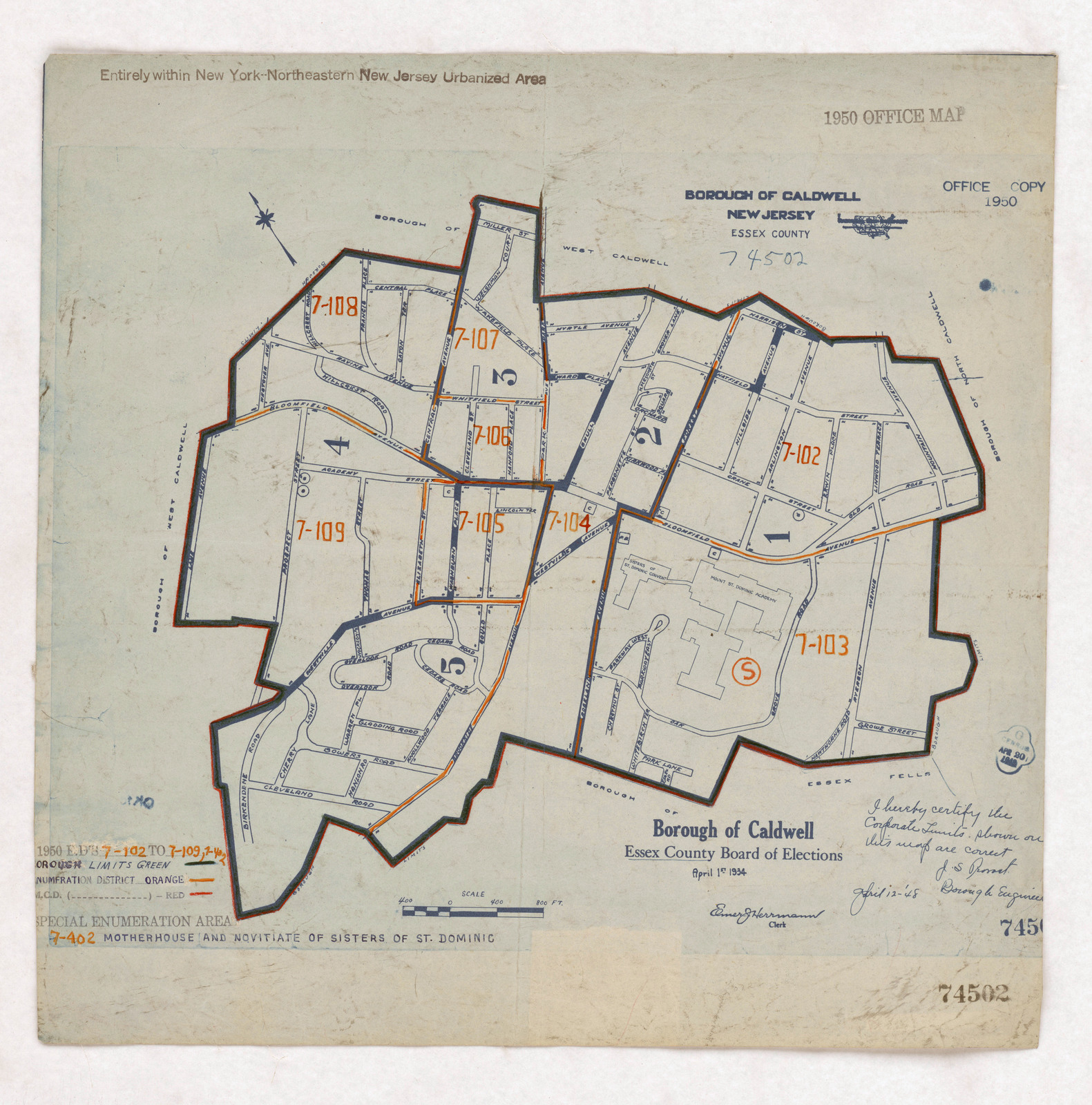 Caldwell New Jersey Map.1950 Census Enumeration District Maps New Jersey Nj Essex