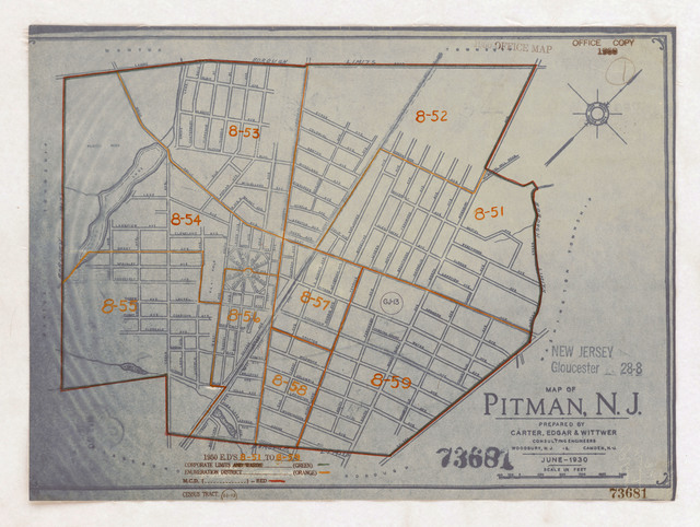 1950 Census Enumeration District Maps - New Jersey (NJ) - Gloucester County - Pitman - ED 8-51 to 59