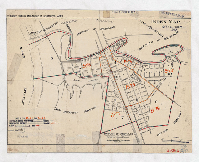 1950 Census Enumeration District Maps - New Jersey (NJ) - Gloucester County - Westville - ED 8-73 to 78
