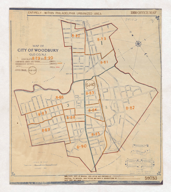 1950 Census Enumeration District Maps - New Jersey (NJ) - Gloucester County - Woodbury - ED 8-79 to 90