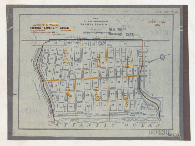 1950 Census Enumeration District Maps - New Jersey (NJ) - Monmouth County - Bradley Beach - ED 13-47 to 52