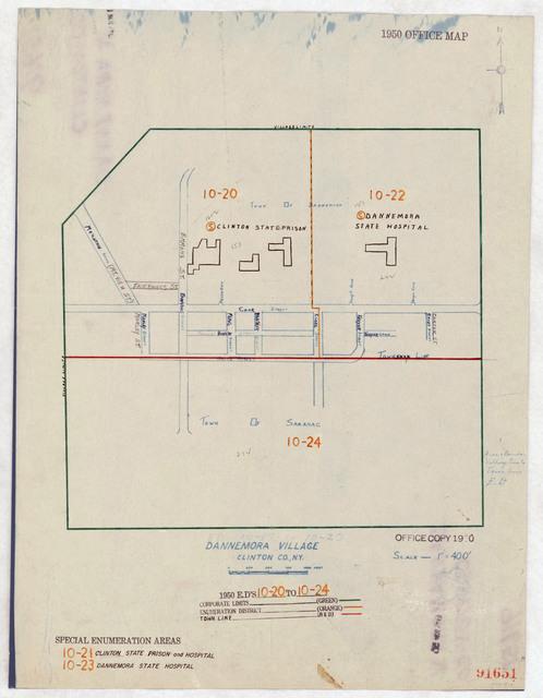 1950 Census Enumeration District Maps - New York (NY) - Clinton County - Dannemora - ED 10-20 to 24