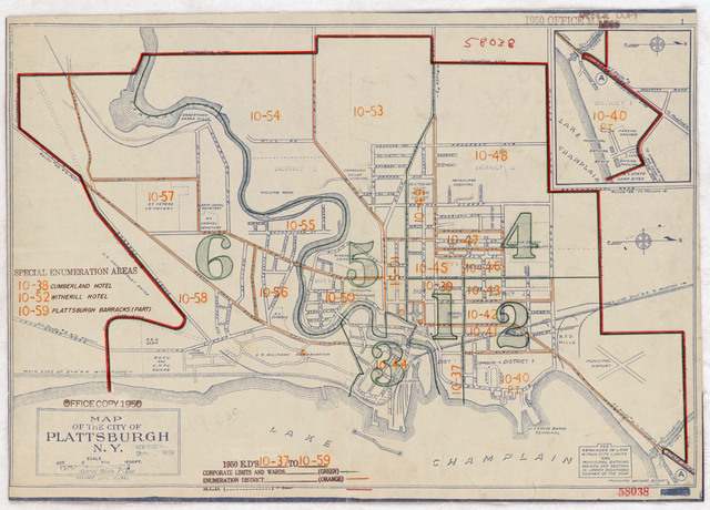 1950 Census Enumeration District Maps - New York (NY) - Clinton County - Plattsburgh - ED 10-37 to 59