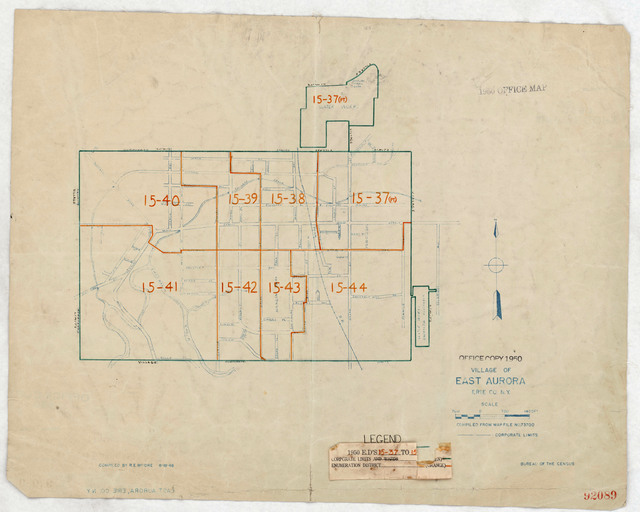 1950 Census Enumeration District Maps - New York (NY) - Erie County - East Aurora - ED 15-37 to 44