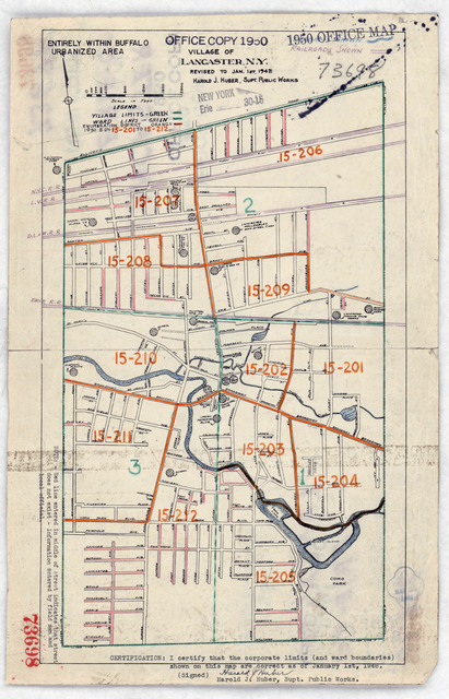 1950 Census Enumeration District Maps - New York (NY) - Erie County - Lancaster - ED 15-201 to 212