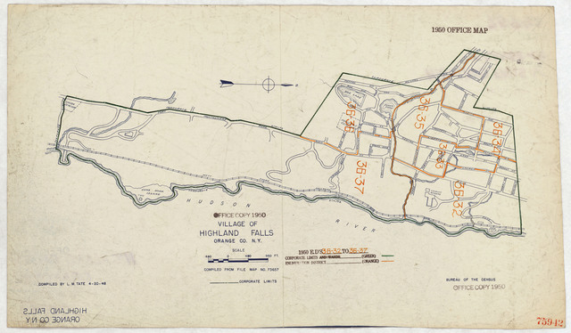 1950 Census Enumeration District Maps - New York (NY) - Orange County - Highland Falls -- ED 36-32 to 37