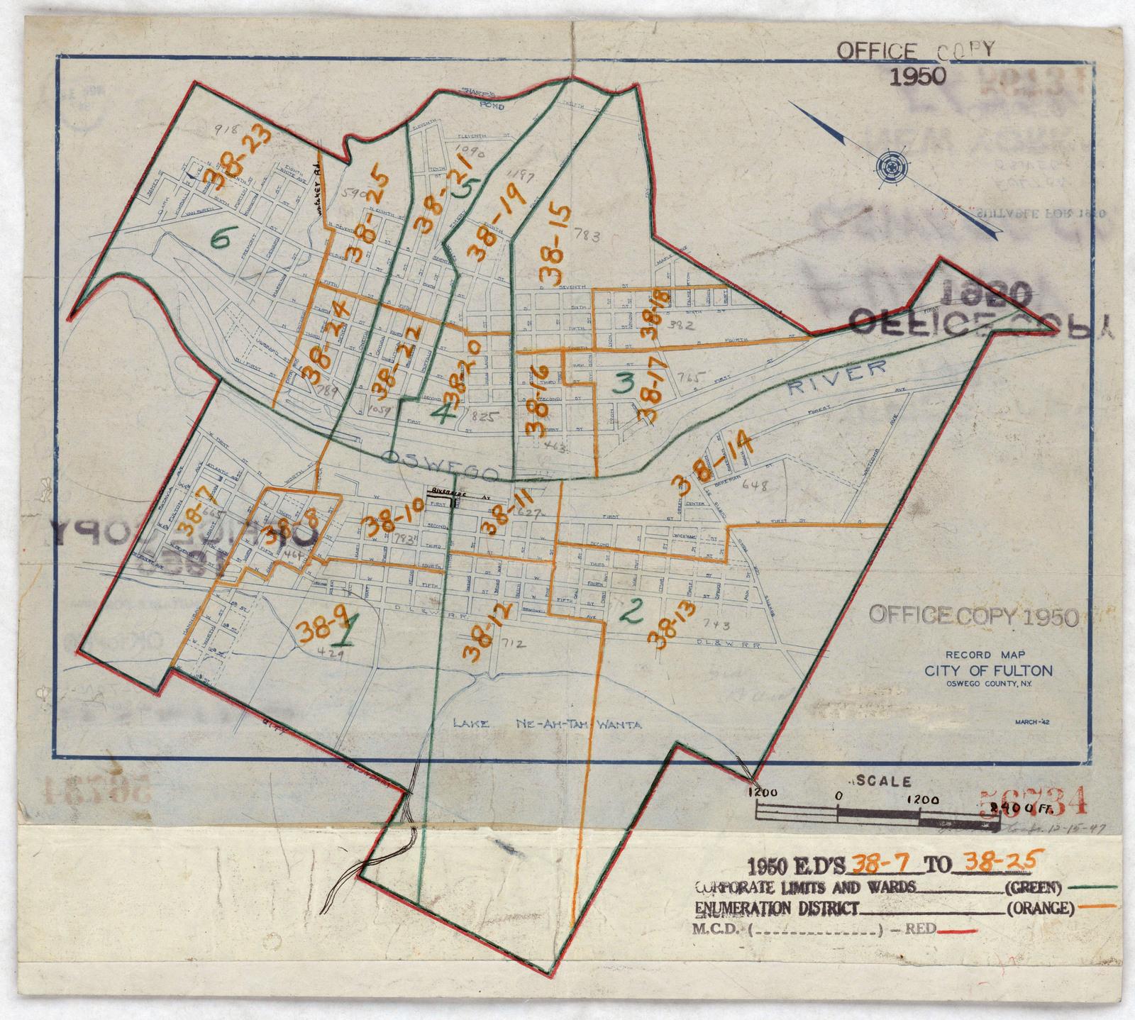 Map Of New York Oswego.1950 Census Enumeration District Maps New York Ny Oswego