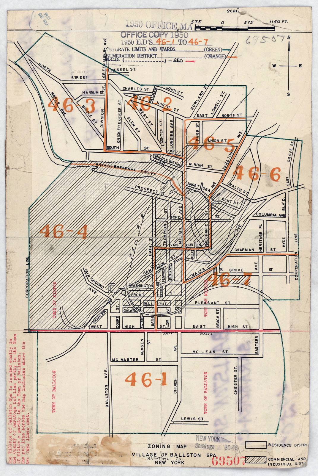 Saratoga New York Map.1950 Census Enumeration District Maps New York Ny Saratoga