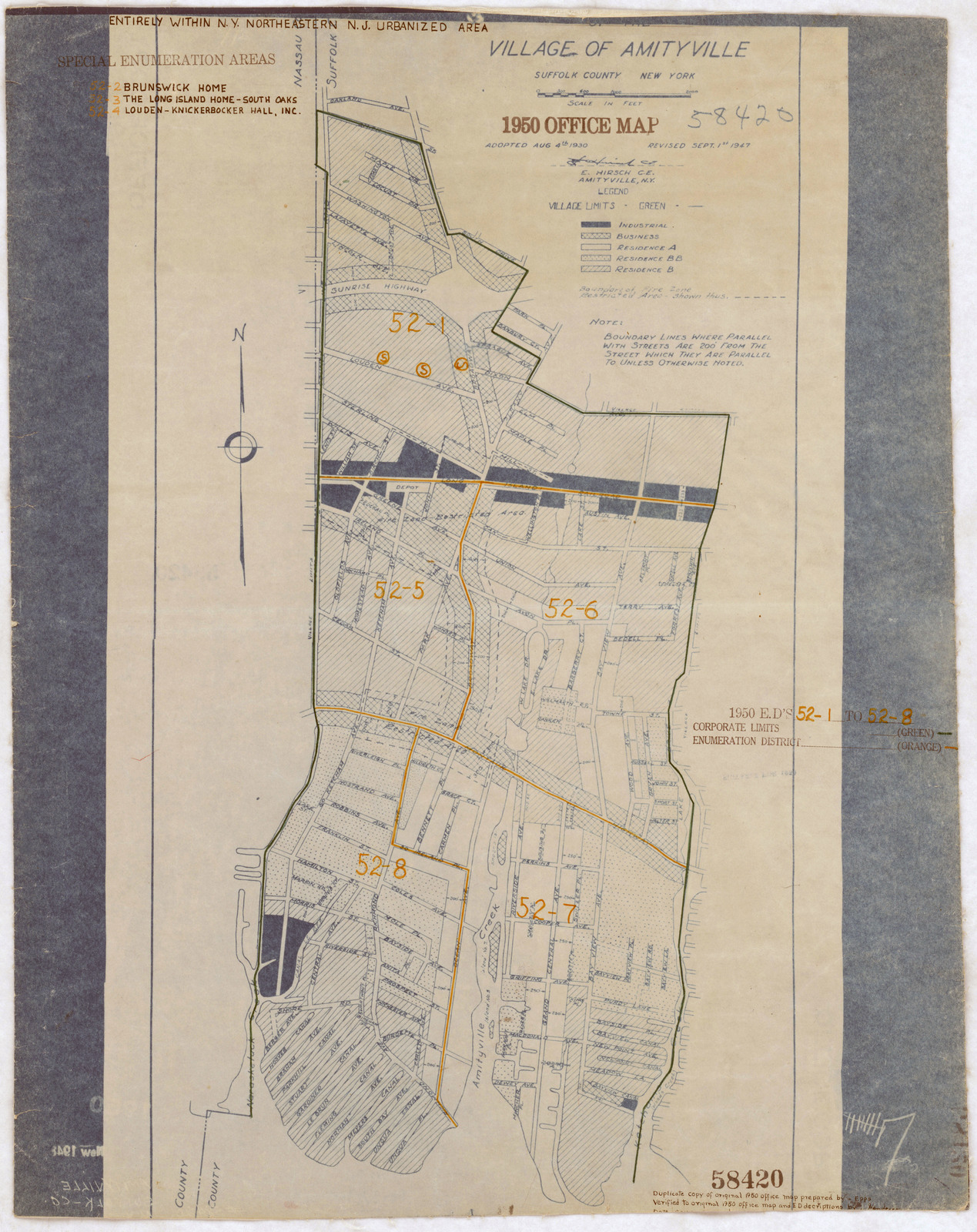 Amityville New York Map.1950 Census Enumeration District Maps New York Ny Suffolk