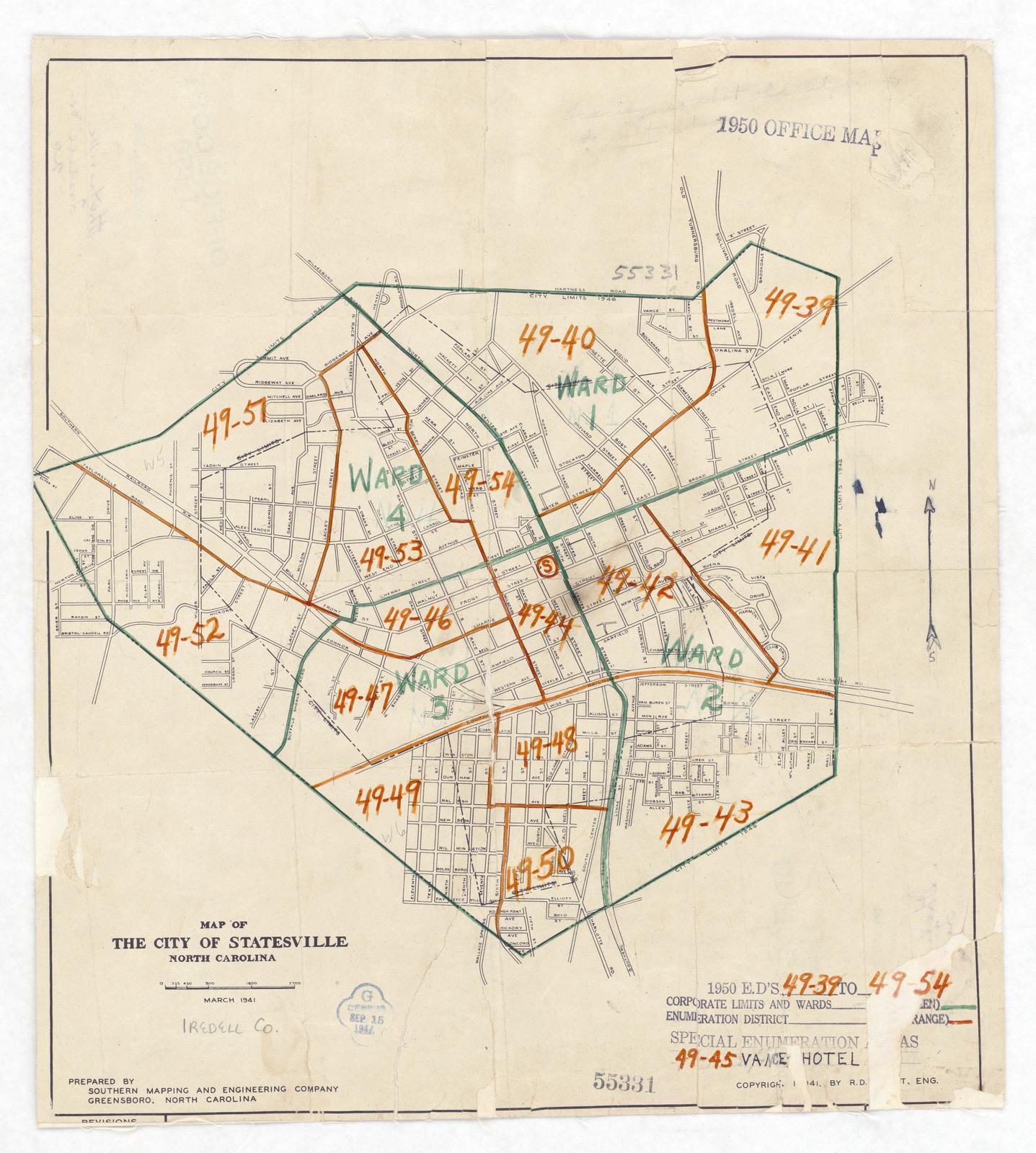 1950 Census Enumeration District Maps North Carolina Nc - North-carolina-map-us