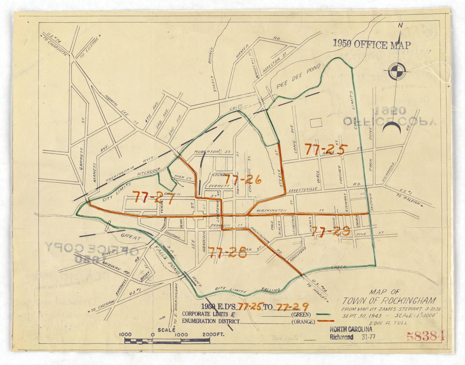 Richmond County Nc Map.1950 Census Enumeration District Maps North Carolina Nc