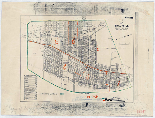 1950 Census Enumeration District Maps - Ohio (OH) - Belmont County - Shadyside - ED 7-19 to 24