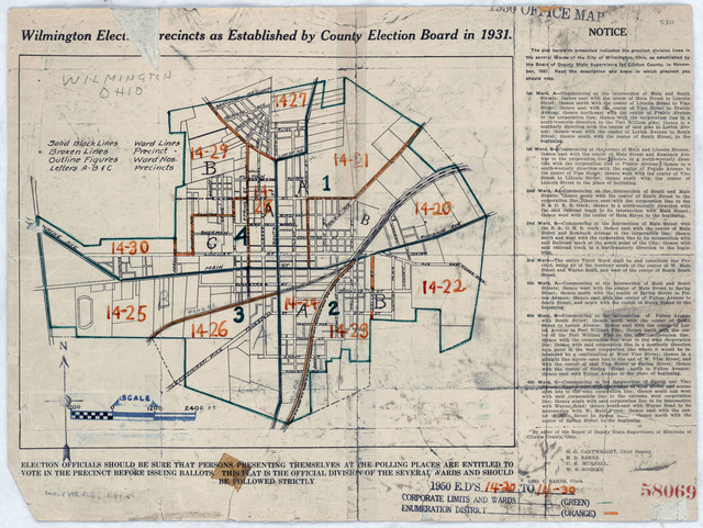 1950 Census Enumeration District Maps - Ohio (OH) - Clinton County - Wilmington - ED 14-20 to 30