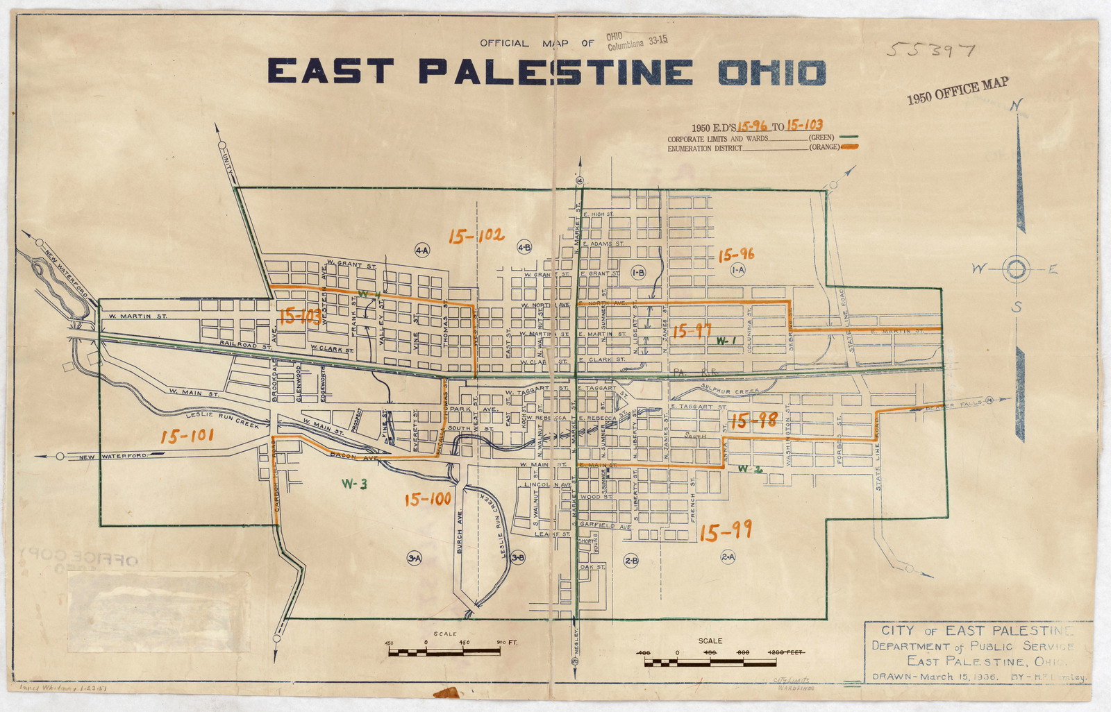 1950 Census Enumeration District Maps Ohio Oh Columbiana