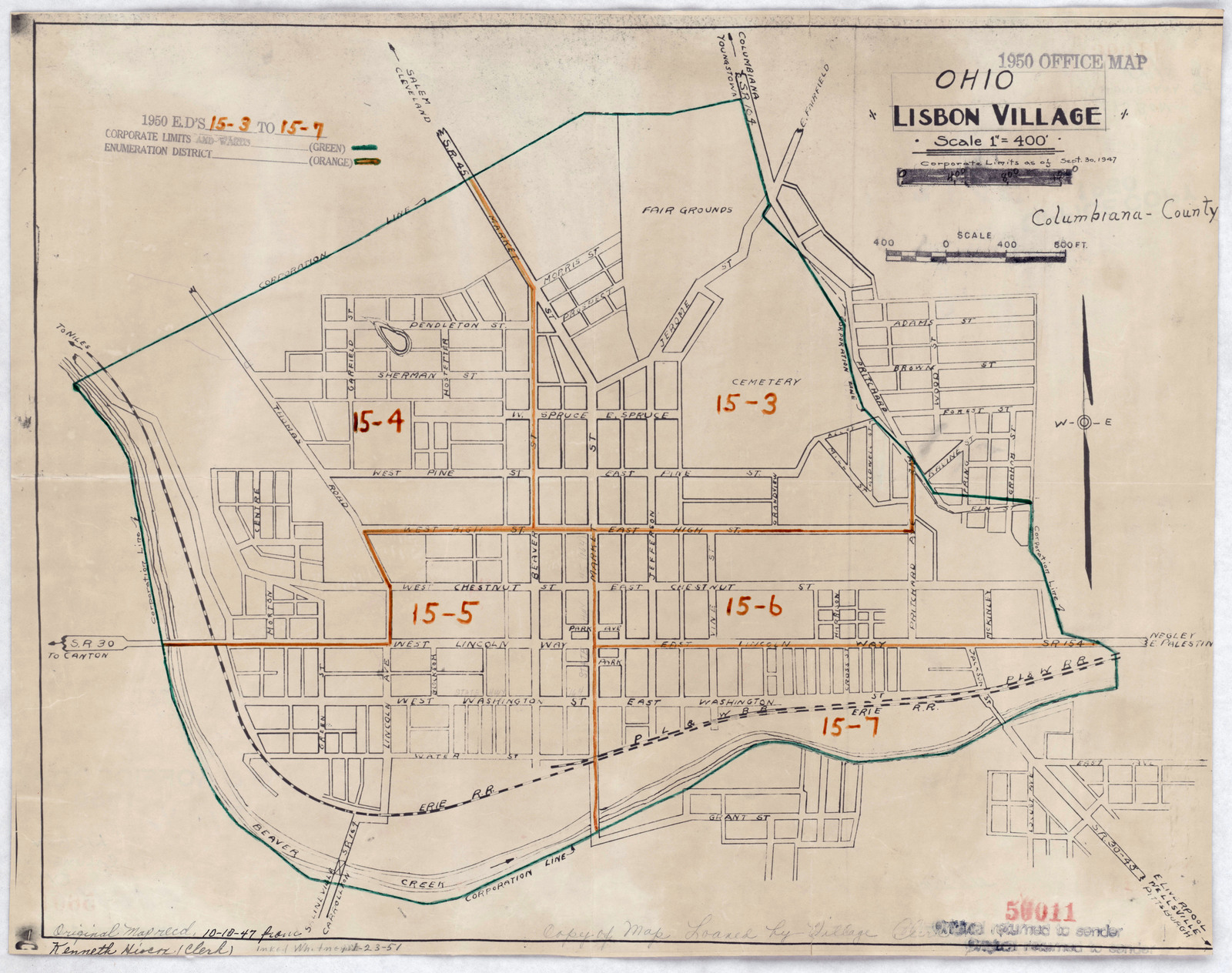 1950 Census Enumeration District Maps - Ohio (OH) - Columbiana County - Lisbon - ED 15-3 to 7