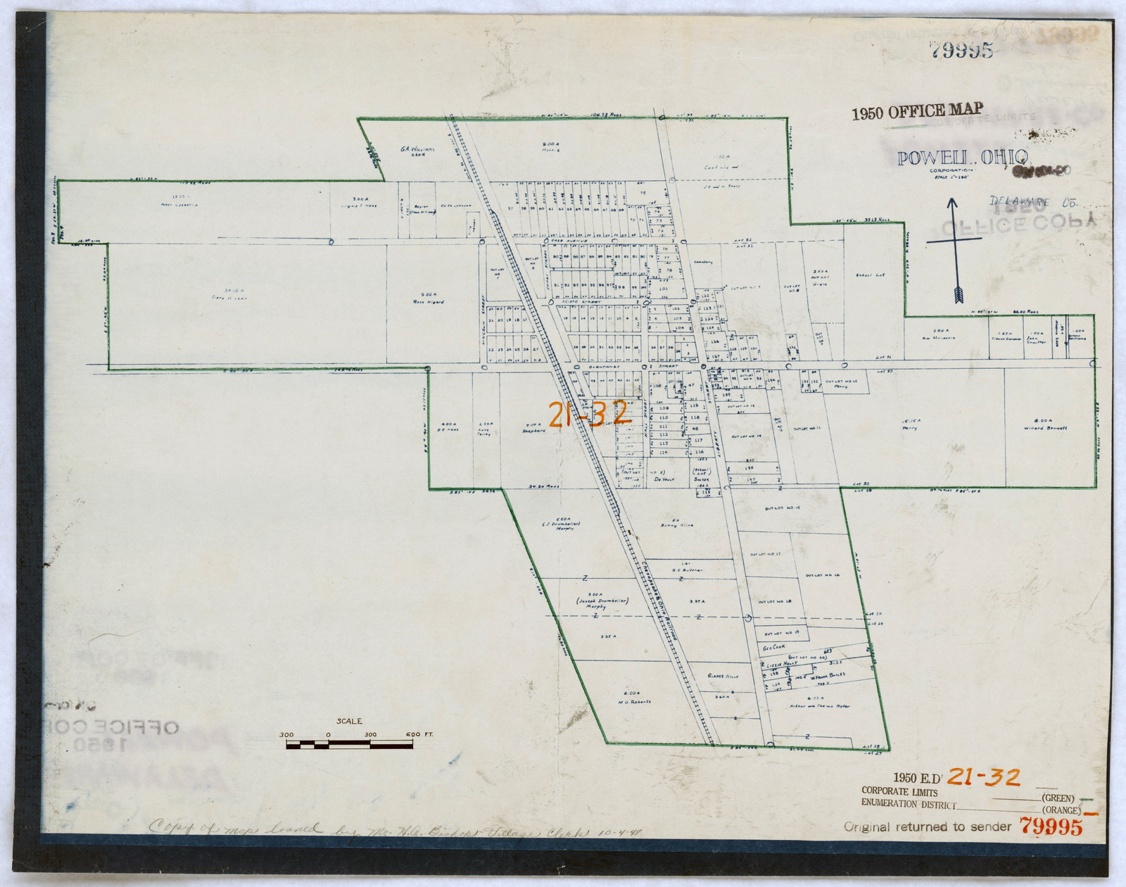 1950 Census Enumeration District Maps Ohio Oh Delaware County