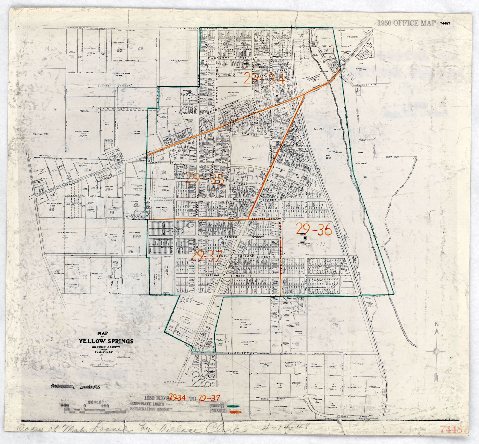 1950 Census Enumeration District Maps Ohio Oh Greene County