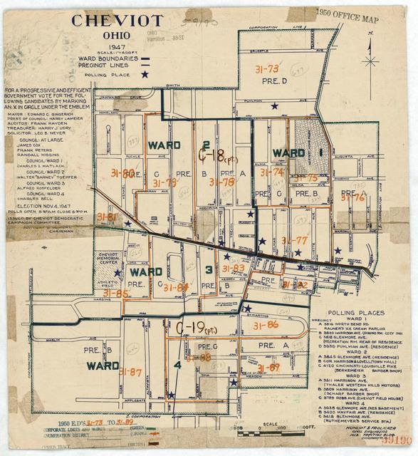 1950 Census Enumeration District Maps - Ohio (OH) - Hamilton County - Cheviot - ED 31-73 to 89