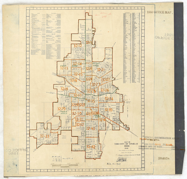 1950 Census Enumeration District Maps - Ohio (OH) - Hancock County - Findlay - ED 32-12 to 42