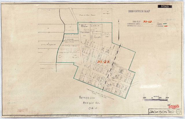 1950 Census Enumeration District Maps - Ohio (OH) - Hardin County - Patterson - ED 33-23