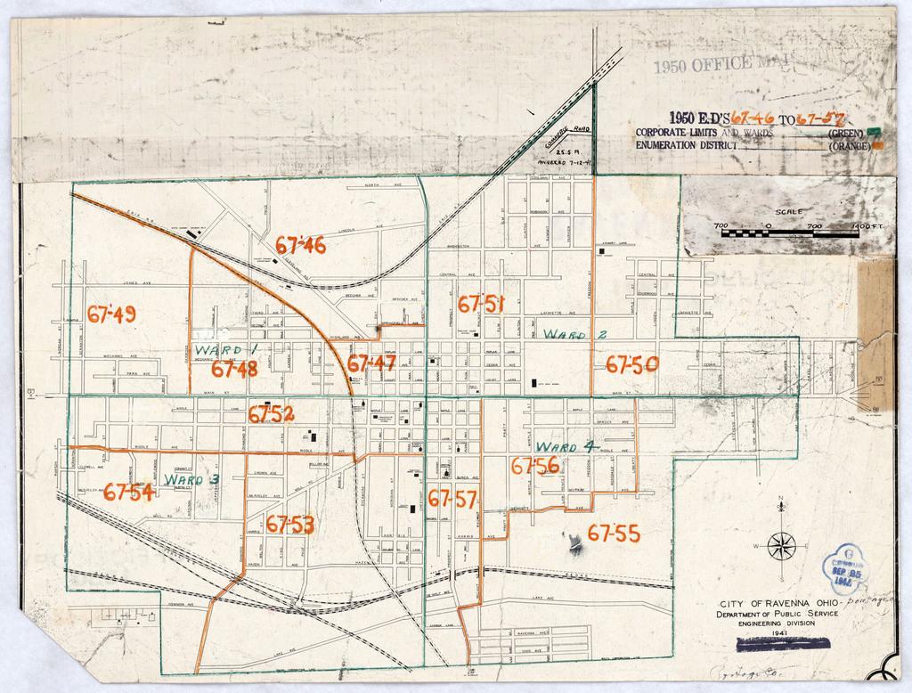 1950 Census Enumeration District Maps Ohio Oh Portage