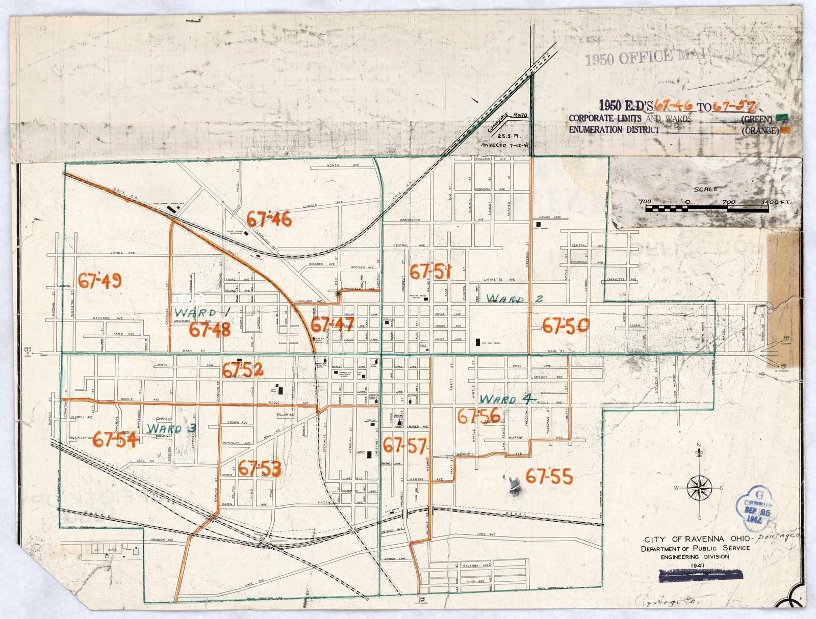 1950 Census Enumeration District Maps Ohio Oh Portage County