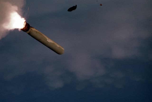 A BGM-109 Tomahawk land-attack missile takes to the air after being launched from the battleship USS WISCONSIN (BB-64) during Operation Desert Storm