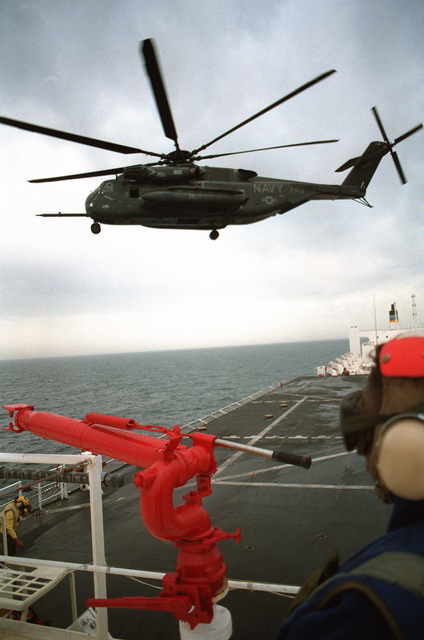 A Helicopter Combat Support Squadron 1 (HC-1) CH-53E Super Stallion helicopter takes off from the hospital ship USNS COMFORT (T-AH-20) as the vessel is deployed to the Persian Gulf during Operation Desert Storm
