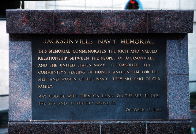A plaque at the Navy Memorial commemorates the relationship between the Jacksonville community and the U.S. Navy