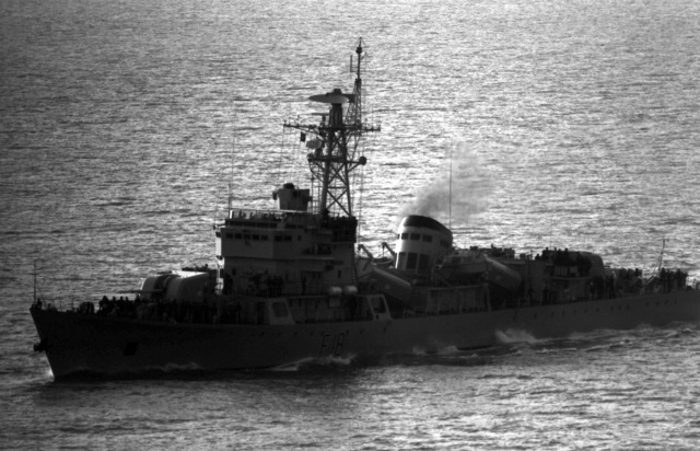A port bow view of the Bangladeshi navy frigate BNS OSMAN (F-18) underway. The OSMAN Is a Chinese Jianghu II class frigate that was transferred to Bangladesh on September 26, 1989