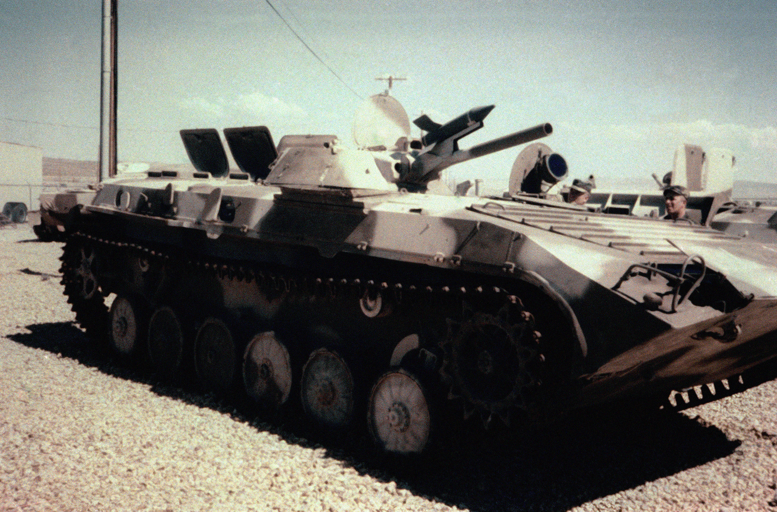 Right front view, on display, Soviet Armored Personnel Carrier, BMP-1 Mechanized Infantry Combat Vehicle