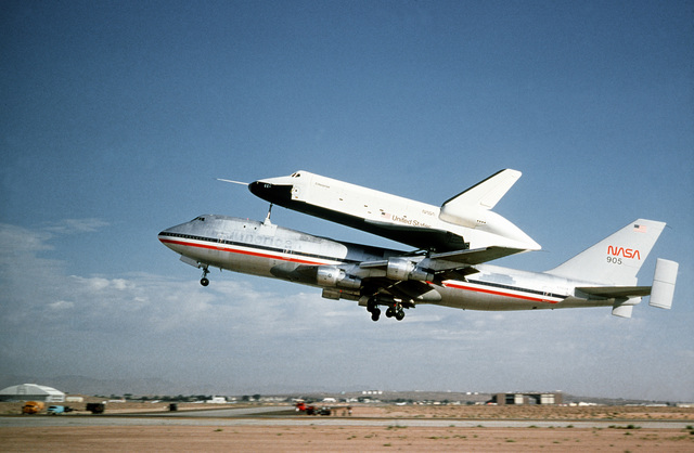 The NASA 747 Shuttle Carrier Aircraft (SCA) lifts off the runway at Edwards AFB, California carrying the Space Shuttle Endeavour OV-105 (Orbiter Vehicle-105) on it back. Exact Date Shot Unknown