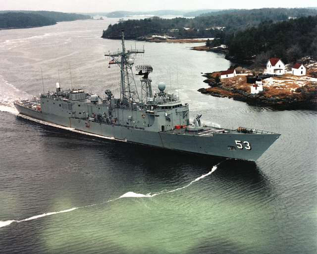 The Oliver Hazard Perry Class Frigate USS HAWES (FFG 53) underway. Exact date shot unknown