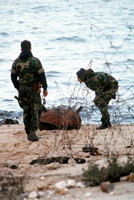 Two members of Explosive Ordnance Disposal (EOD) Detachment Mobile Unit 6 examine an Iraqi mine that washed ashore. U.S. and coalition EOD units are clearing mines and other ordnance from Kuwait's harbors following Operation Desert Storm