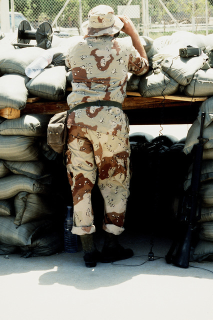 Private 1ST Class Jeff Pritchett of the 7th Air Defense Artillery Brigade keeps watch from a bunker during Operation Desert Shield