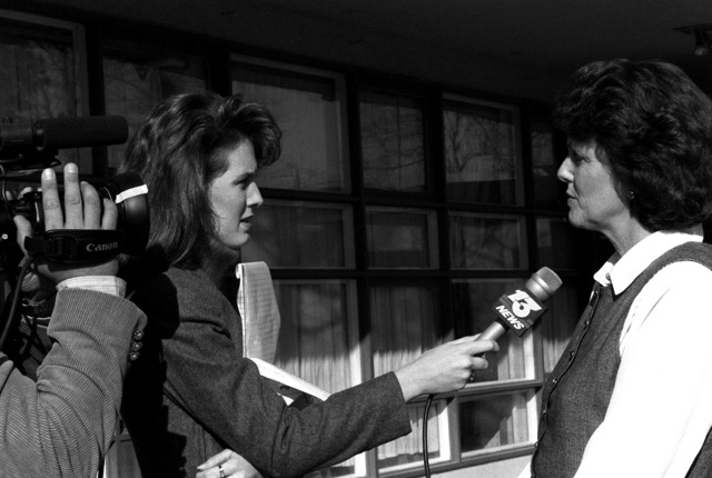 A local television personality interview Tina Wilson, ombudsman, chairman, at the Navy Family Service Center regarding support services available for dependents of military personnel deployed in support of Operation Desert Storm