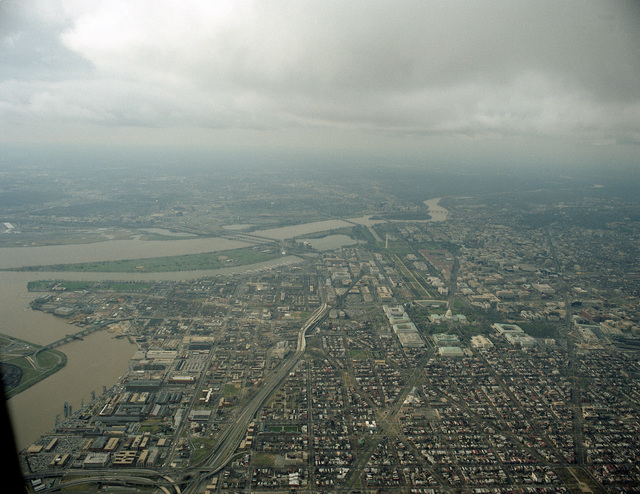An aerial view of the intersection of the Potomac and Anacostia Rivers, left, Washington, District of Columbia in the foreground and East Potomac Park