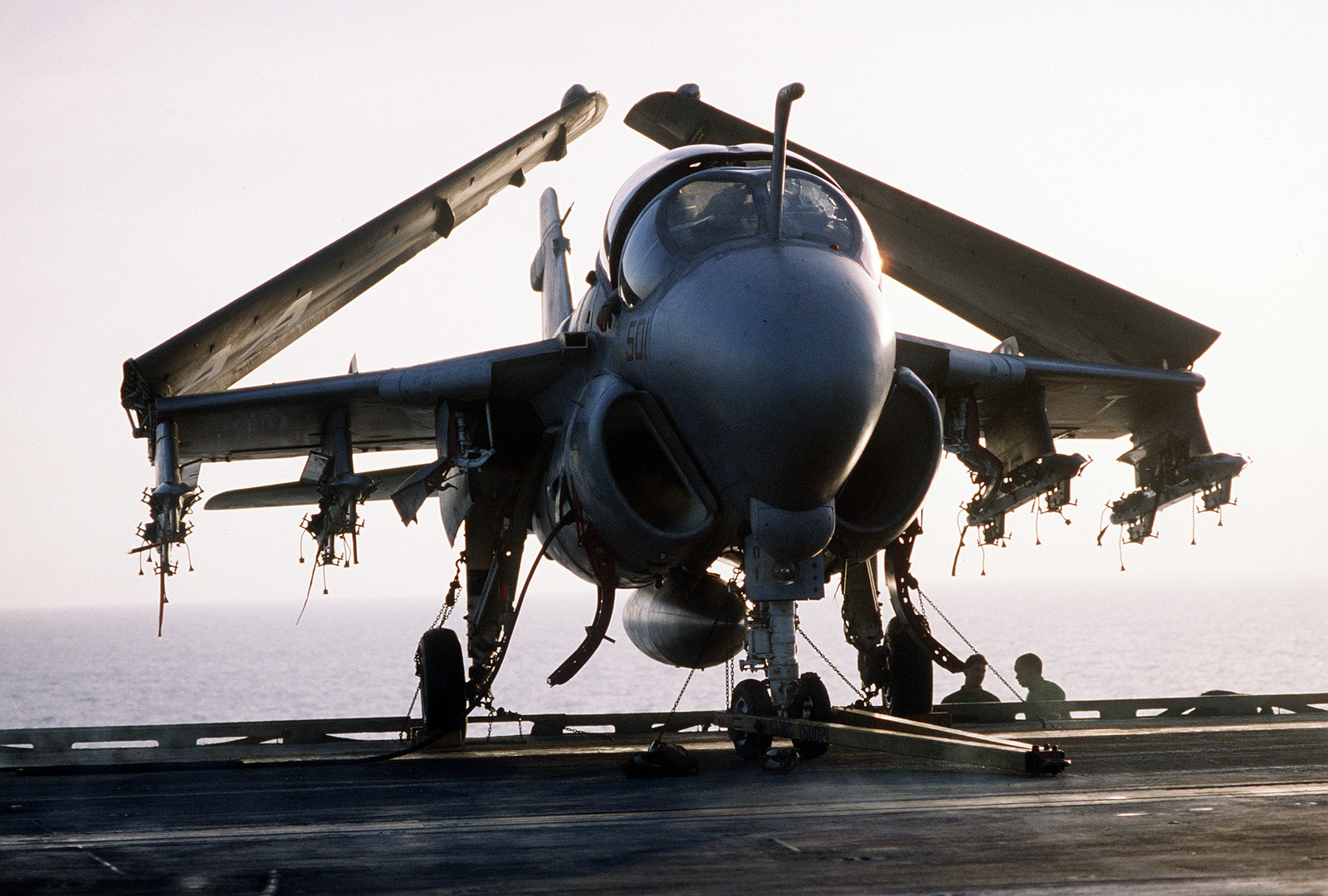 An Attack Squadron 35 (VA-35) A-6E Intruder aircraft sits on the flight deck of the aircraft carrier USS SARATOGA (CV-60) during Operation Desert Storm