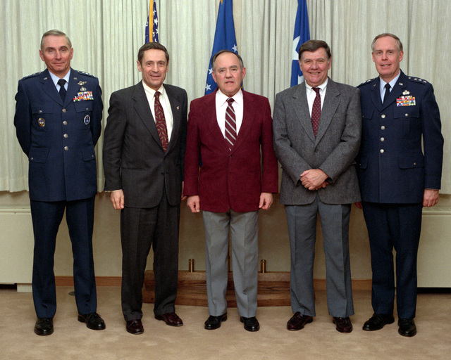 Former commanders of the Air Force Space Command pose for a group photograph with the current commander, LT. GEN. Thomas S. Moorman, Jr., pictured at right. The dignitaries include, from left: GEN. Donald J. Kutyna; GEN. Robert T. Herres; GEN. James V. Hartinger (first commander); MAJ. GEN. Maurice Padden and LT. GEN. Moorman
