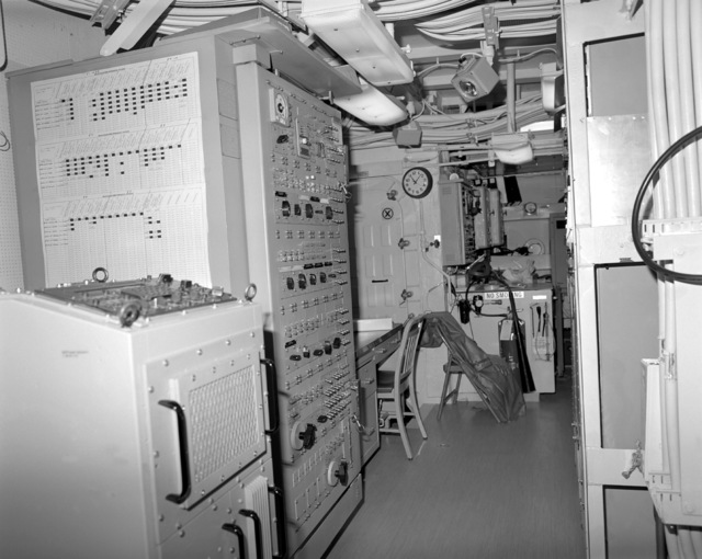 A view of the interior communications and gyro room No. 1 on the guided missile cruiser COWPENS (CG-63). Construction on the COWPENS is 100 percent complete
