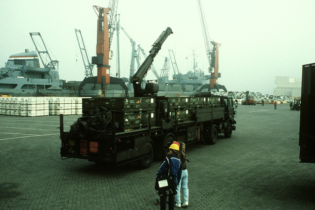 A truck from the Dutch army's 812th Transportation Group transports a load of ordnance to a pier for redeployment to the United States in the aftermath of Operation Desert Storm