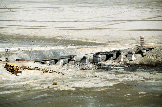 A railroad bridge near the Arramaylan refinery damaged by Allied bombing during Operation Desert Storm.